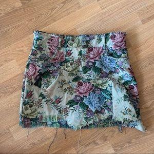 Zara Woman Floral Denim Skirt with Ruffles